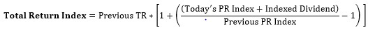 total returns index equation